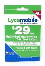 Lycamobile $29 x 1 Month Preloaded SIM Unlimited Nationwide Talk/Text/Data New