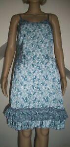 Myrine & Me  - Stunning blue silky XS Slip dress with frilled hem