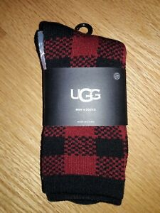 UGG 1097763 Randall Men's Biking Red Plaid Acrylic Crew Socks One Size