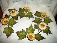 ITALIAN TOLE PRIMROSE FLOWERS CANDLE HOLDERS SLIGHT CHIPPY EARLY MID CENTURY