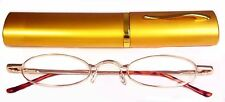 Reading Glasses[+1.00] 1 Metal Frame Gold Reader Matching Case Spring Hinge 1.00