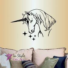 Vinyl Decal Magic Unicorn with Stars Kids Girls Nursery Room Wall Sticker 1263