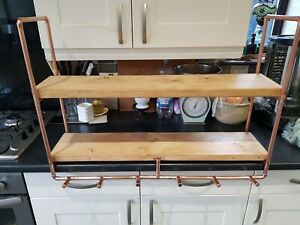 Handmade Rustic Wood,Copper Pipe Wall Unit with 2 Shelves. Wax Finish