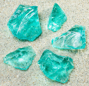 Glasbrocken Gartendekoration Glasstein türkis Glass stone 40-120 Glasdeko Außen