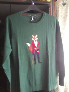 Joules Miranda Dark Green Fox (Well-Dressed!) Long Sleeved Jumper #18 NEW/BNWT