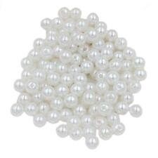 130x White 8mm Pearl Loose Beads Spacer for Jewelry Making Beading Crafts