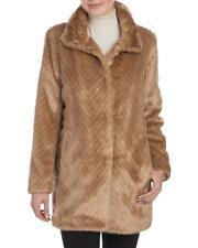 ELLEN TRACY Plus Faux Fur Walking Coat  Size: L Color ;Brown