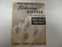 HOW TO CARE FOR YOUR SCHWINN BOOKLET REPRINT