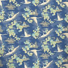 Bird Wallpaper Flower Temples Oriental Theme Floral Metallic Navy Blue Rasch