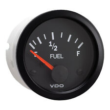 "VDO 2-1/16"" (52mm) Vision Fuel Gauge (E-1/2-F) Black Dial & Bezel"
