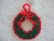 Green Wreath with Star Christmas Ornament Plastic Canvas Handmade