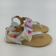 JoJo Siwa Girls' Thong Sandals with Signature Bow and Easy Heel Strap kids sz 2