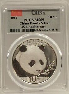 2018 China Panda Silver 10 Yn  30gm Coin PCGS MS69 - 35th Anniversary