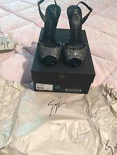 Giuseppe Zanotti Crystal Peep Toe Coline 110 Black Patent Shoes 36