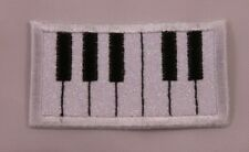 Embroidered White Glitter Piano Keyboard Music Keys Applique Patch Iron On USA