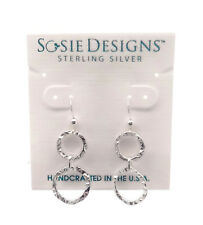 SOSIE DESIGNS Sterling Silver Hammered Double Circle Dangle Hook Earrings 1 1/2""