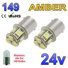 2 X 24V AMBER LED BULBS CAPLESS 149 R5W 246 R10W SIDE LIGHT PLATE INTERIOR