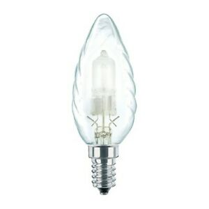 Philips Eco Halogen 18W 240V SES/E14 35mm Twisted Clear Candle