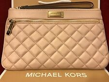 NWT MICHAEL KORS LEATHER SOPHIE QUILT LARGE ZIP CLUTCH/WRISTLET IN BALLET