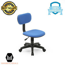 Adjustable Armless Padded Back Office Desk Computer Swiveling Task Chair Blue
