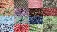 New Indian Hand Block Print 100% Cotton Fabric Natural Printed Garments Fabric