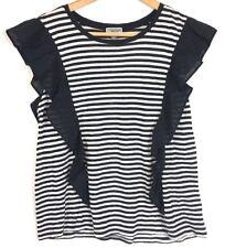 Chelsea28 Women Size Large Striped Top ruffle black white s/s 100% linen NWT