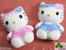 "10 x (1 1/8"") White Resin Kitty/Cat Flatback Beads/Hello w/Flower Bow SB153"