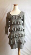 NEW Anthropologie Leifsdottir Gray Pearl Decorated Dress Sz 6 *