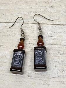 Pair Jack Daniels Bottle Earrings Biker Kitsch Novelty Fun Festival Goth Beer