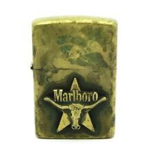 Vintage 1992 Zippo Lighter Brass Marlboro Star & Steer Emblem - WORKING