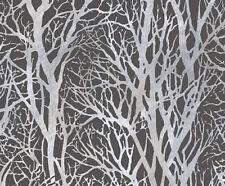 A.S CREATION LIFE GREY & SILVER TREE PRINT METALLIC WALLPAPER