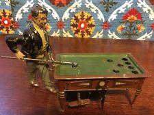 Antique Gunthermann Mechanical Windup Tin Litho Pool Table Billiard Player Toy