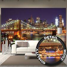 Brooklyn Bridge wallpaper - New York City Skyline with Brooklyn Bridge in lig...