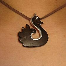 Necklace Gianni Liverani coconut shell & silver plated Zama alloy Swan New!