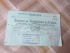 HARRISON & SYKES Linen Wool & Yarn Sheet HUDDERSFIELD 1923 Original Invoice