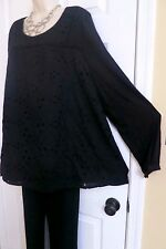 NEW Stunning Cotton Embroidered Tunic Top Lane Bryant Plus 22/24 (2X/3X) Black