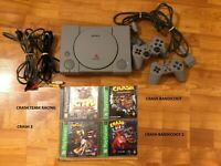 Sony PlayStation 1 Console And Games Lot CRASH BANDICOOT - 4 GAMES 2 CONTROLLERS