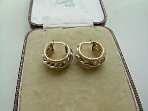 Vintage 9ct Two Coloured Gold Wide Hoop Style Earrings.