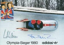 """Josef """"Sepp"""" Benz (SUI) 1.OS 1980 Lake Placid Bob original signiert/signed !!!"""