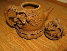 EARLY BIG CHINESE YIXING ZISHA SCHOLAR CARVED POETRY TEAPOT