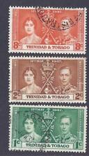 TRINADAD & TOBAGO, 1937 KGV1 CORONATION,  SG 243-45, GOOD TO FINE USED SET 4.