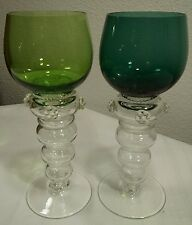 MOSER Green Ribbed Hollow Stem Roemer Wine Glasses Set Of 2