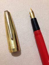 VINTAGE STEPHENS ORANGE GT FOUNTAIN PEN-18CT GOLD PLATED NIB-SPARES/REPAIR.