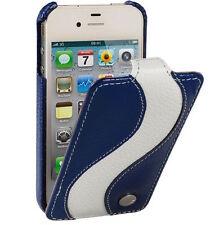 Melkco Custodia in pelle per Apple iPhone 4/4s - vorrai Tipo (Blu/Bianco) h1531 LC