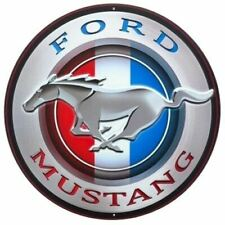 Mustang Round Embossed Tin Sign - Great Ford Wall Art! FREE USA Shipping, Too!