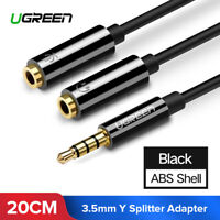 UGREEN Headset Adapter 3.5mm Male to 2 Female Mic Audio Splitter Cable Black