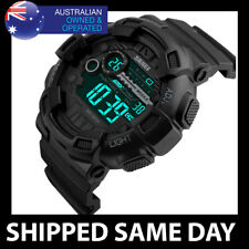 SKMEI 1243 MENS 5 ATM WATERPROOF DIGITAL SPORTS WATCH Water Resistant Gold Army