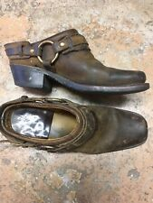 Frye Womens Harness Boots Slip On Clogs Brown Leather Motorcycle Square Toe 8.5