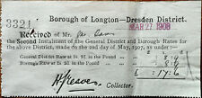 Borough of Longton Dresden District, General District and Borough Rates 1908