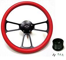 """1969 1970 1971 1972 Nova 14"""" Billet Black/Red Muscle Steering Wheel Full Kit"""